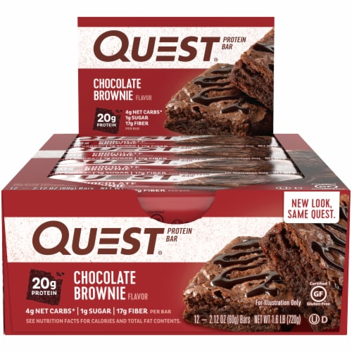 Quest Chocolate Brownie Flavor Protein Bars 12 Count Perspective: front
