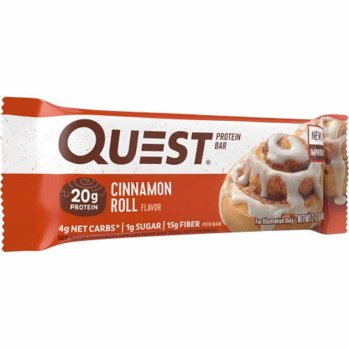 Quest Cinnamon Roll Protein Bar Perspective: front