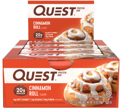 Quest Cinnamon Roll Protein Bars 12 Count Perspective: front