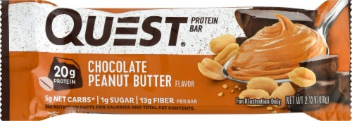 Quest Gluten-Free Chocolate Peanut Butter Protein Bar Perspective: front