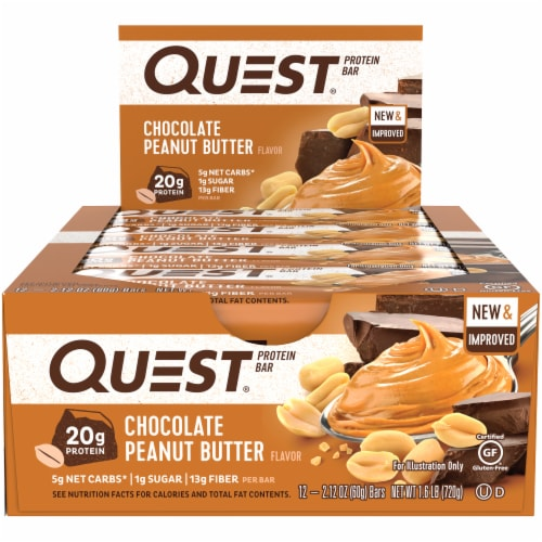 Quest Chocolate Peanut Butter Protein Bars 12 Count Perspective: front