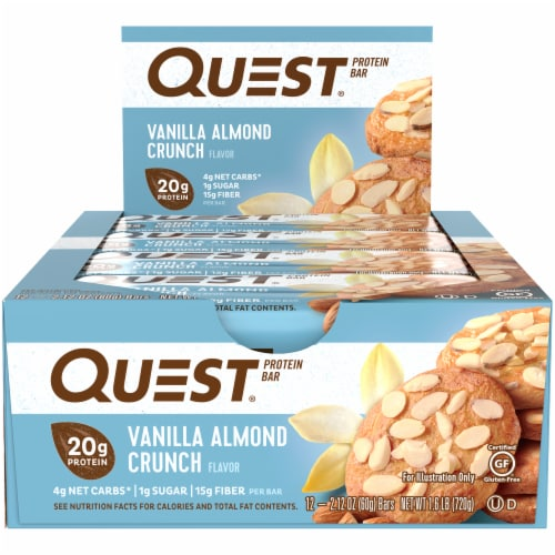 Quest Vanilla Almond Crunch Flavor Protein Bars Perspective: front
