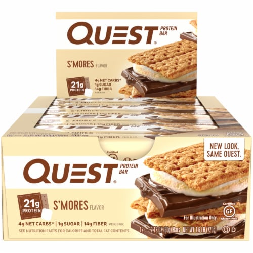 Quest S'mores Protein Bars 12 Count Perspective: front