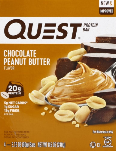 Quest Chocolate Peanut Butter Protein Bar 4 Count Perspective: front