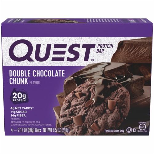 Quest Double Chocolate Chunk Protein Bars 4 Count Perspective: front