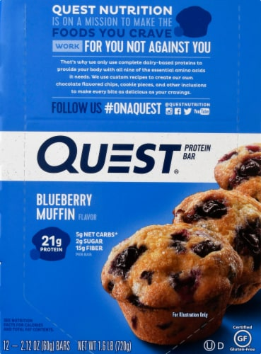 Quest Blueberry Muffin Protein Bars 12 Count Perspective: front
