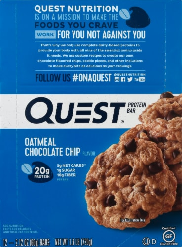 Quest Oatmeal Chocolate Chip Protein Bars 12 Count Perspective: front