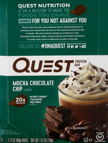 Quest Mocha Chocolate Chip Protein Bars 12 Count Perspective: front