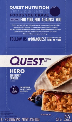 Quest HERO Blueberry Cobbler Protein Bars 10 Count Perspective: front