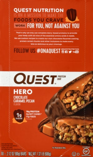 Quest HERO Chocolate Caramel Pecan Protein Bars 10 Count Perspective: front