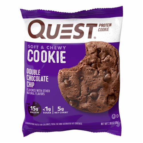 Quest Double Chocolate Chip Protein Cookie Perspective: front