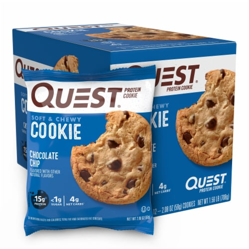 Quest Chocolate Chip Protein Cookies Perspective: front