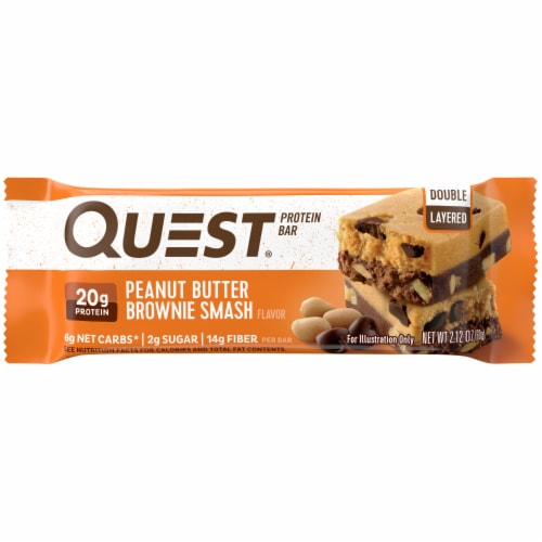 Quest Peanut Butter Brownie Smash Protein Bar Perspective: front