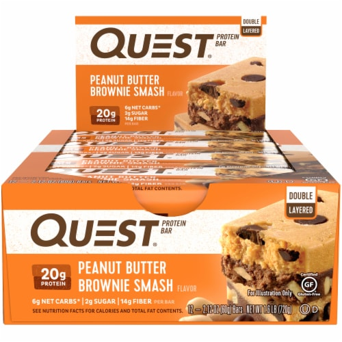 Quest Peanut Butter Brownie Smash Protein Bars 12 Count Perspective: front