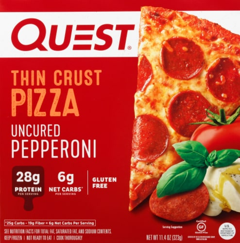 Quest Thin Crust Uncured Pepperoni Pizza Perspective: front