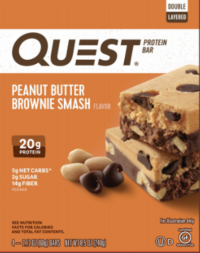 Quest Peanut Butter Brownie Smash Protein Bars Perspective: front