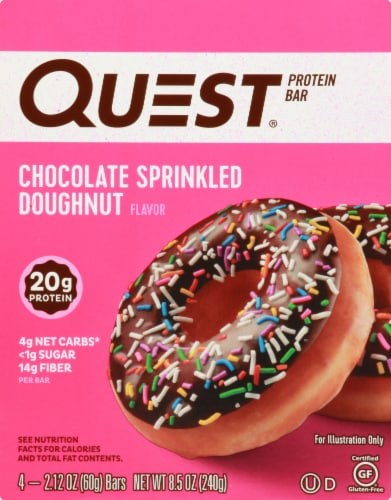 Quest Chocolate Sprinkled Doughnut Flavor Protein Bars Perspective: front