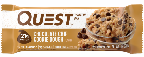 Quest Chocolate Chip Cookie Dough Flavor Protein Bar Perspective: front