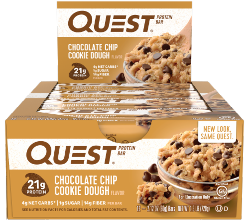 Quest Chocolate Chip Cookie Dough Protein Bars Perspective: front