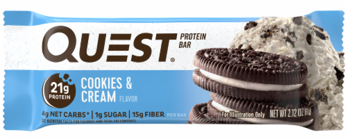 Quest Cookies & Cream Flavor Protein Bar Perspective: front
