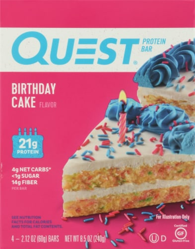 Quest Birthday Cake Flavored Protein Bars Perspective: front