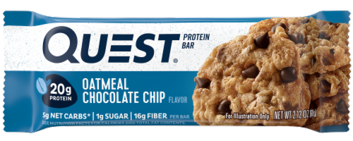 Quest Oatmeal Chocolate Chip Flavor Protein Bar Perspective: front
