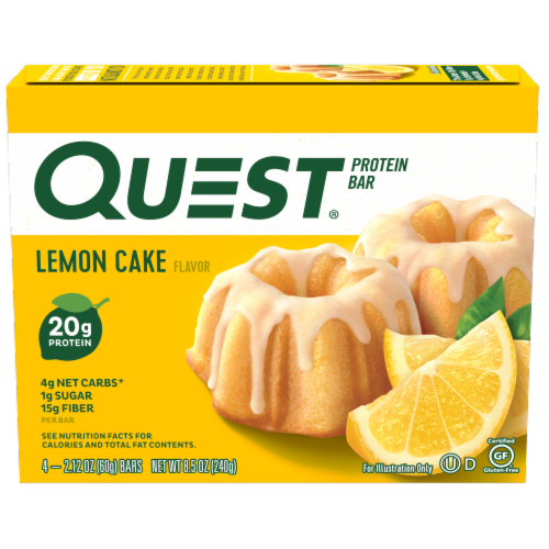Quest Lemon Cake Flavor Protein Bars Perspective: front