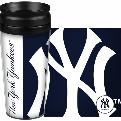 New York Yankees Travel Mug 14oz Full Wrap Style Hype Design Perspective: front