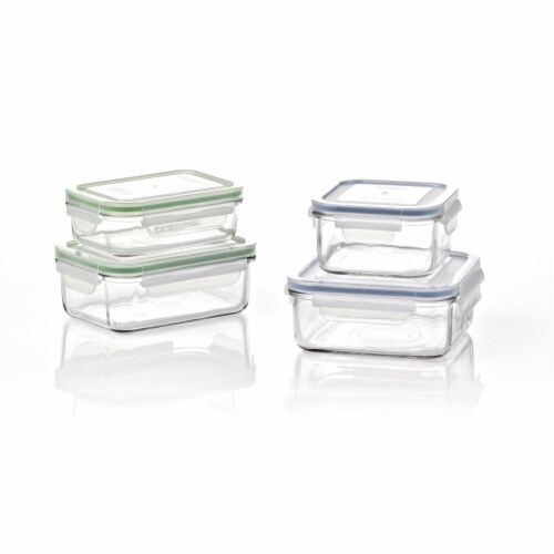 Glasslock Classic 8 Piece Clear Glass Microwave Safe Food Storage Container Set Perspective: front