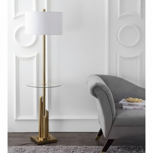 Ambrosio 61-Inch H Floor Lamp Side Table Brass / Gold Perspective: front