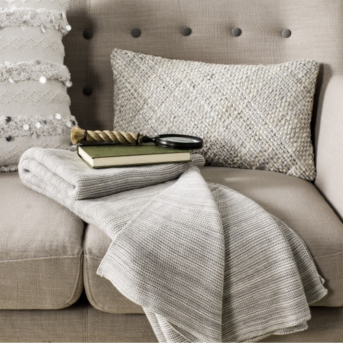 Loveable Knit Throw Grey Perspective: front