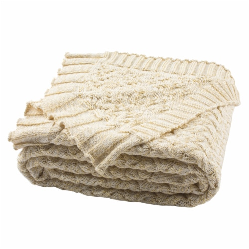 Adara Knit Throw Natural / Gold Perspective: front