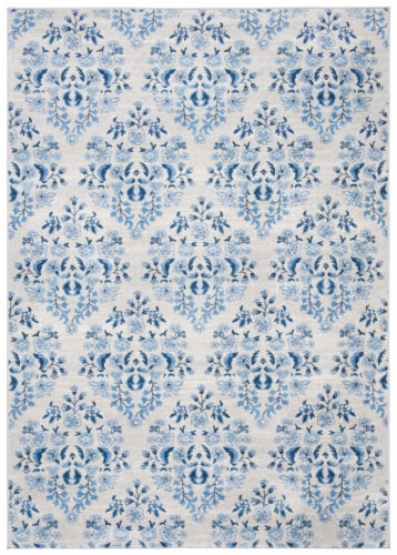 Martha Stewart Collection Brentwood Area Rug - Cream/Blue Perspective: front
