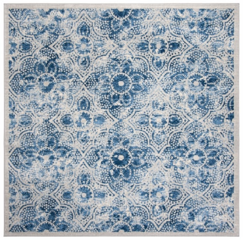 Martha Stewart Brentwood Square Rug - Cream/Blue Perspective: front