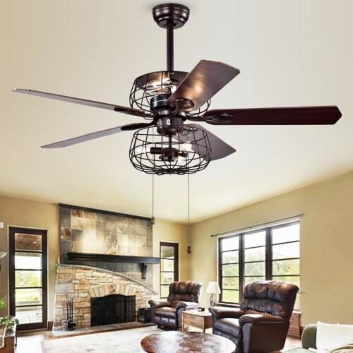 Erving Ceiling Light Fan Black Perspective: front