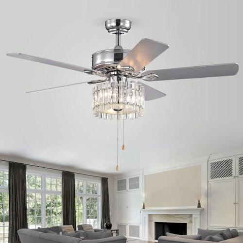 Dresher Ceiling Light Fan Chrome Perspective: front