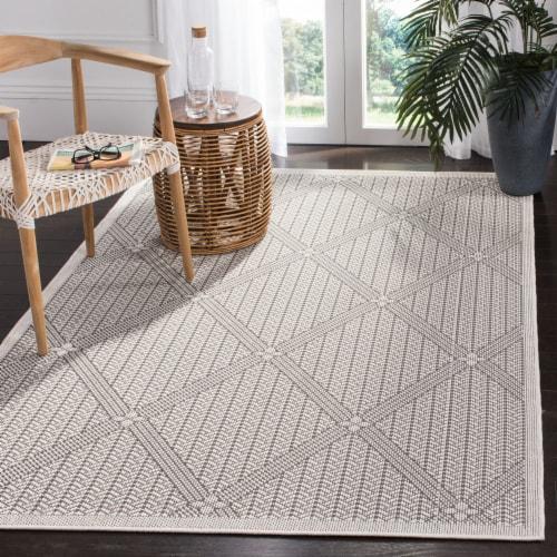 Safavieh Martha Stewart Courtyard Indoor Outdoor Area Rug - Charcoal / Beige Perspective: front