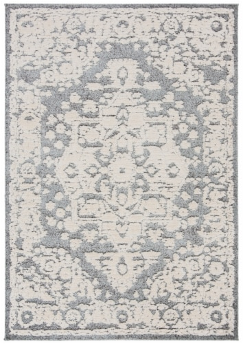 Martha Stewart Collection Lucia Shag Area Rug - Light Gray/White Perspective: front