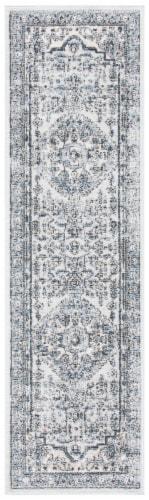 Martha Stewart Dacota Oregon Floor Runner Rug - Light Blue/Ivory Perspective: front