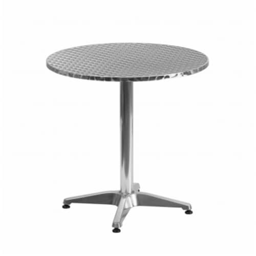 27.5'' Round Aluminum Indoor-Outdoor Table with Base Perspective: front