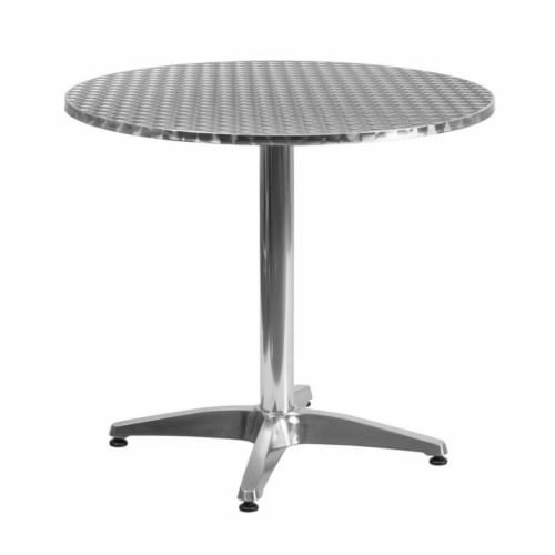 31.5'' Round Aluminum Indoor-Outdoor Table with Base Perspective: front