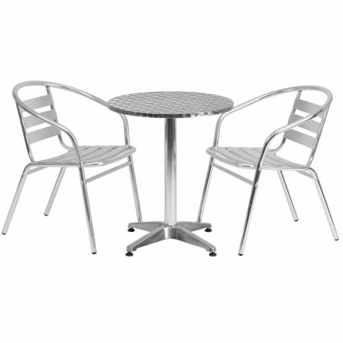 23.5'' Round Aluminum Table Set with 2 Slat Back Chairs - TLH-ALUM-24RD-017BCHR2-GG Perspective: front