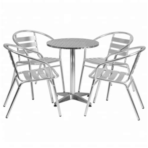 23.5'' Round Aluminum Table Set with 4 Slat Back Chairs - TLH-ALUM-24RD-017BCHR4-GG Perspective: front