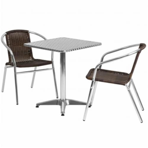 Flash Furniture TLH - ALUM - 24SQ - 020CHR2 - GG 23.5 in. Square Aluminum Indoor - Outdoor Ta Perspective: front