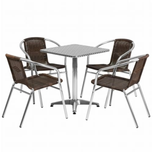 23.5'' Square Aluminum Table Set with 4 Dark Brown Rattan Chairs - TLH-ALUM-24SQ-020CHR4-GG Perspective: front