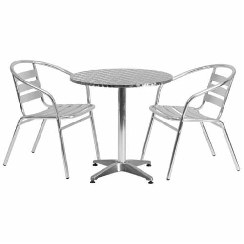 Flash Furniture TLH - ALUM - 28RD - 017BCHR2 - GG 27.5 in. Round Aluminum Indoor - Outdoor Ta Perspective: front