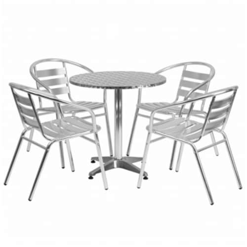 Flash Furniture TLH - ALUM - 28RD - 017BCHR4 - GG 27.5 in. Round Aluminum Indoor - Outdoor Ta Perspective: front