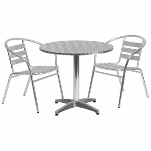 31.5'' Round Aluminum Table Set with 2 Slat Back Chairs - TLH-ALUM-32RD-017BCHR2-GG Perspective: front