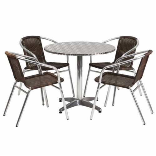 31.5'' Round Aluminum Table Set with 4 Dark Brown Rattan Chairs - TLH-ALUM-32RD-020CHR4-GG Perspective: front