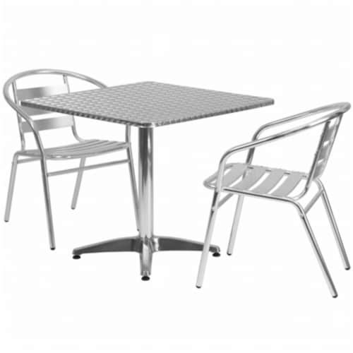 Flash Furniture 3 Piece Square Patio Dining Set in Aluminum Perspective: front